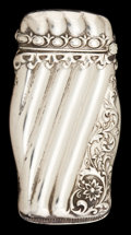 Silver Smalls:Match Safes, AN AMERICAN SILVER MATCH SAFE . Maker unknown, American, circa1900. Marks: STERLING, 925, FINE . 2-3/8 inches high (5.9...