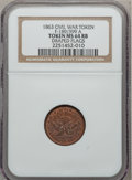 Civil War Patriotics, 1863 Draped Flags MS64 Red and Brown NGC. Fuld-189/399a....