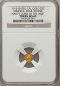 """California Gold Charms, """"1915"""" Minerva, Bear, Round 1/4 MS62 NGC. Hart's Coins of the West...."""