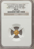 "California Gold Charms, ""1915"" Minerva, Bear, Round 1/4 MS62 NGC. Hart's Coins of the West...."