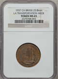 20th Century Tokens and Medals, 1937 Los Angeles Transportation Week MS65 NGC. Brass, 25.8mm. California....