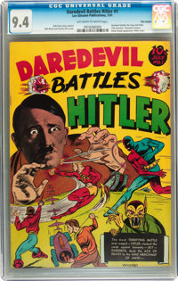 Daredevil Comics #1 Daredevil Battles Hitler - Billy Wright pedigree (Lev Gleason, 1941) CGC NM 9.4 Off-white to white p...