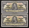 Canadian Currency: , BC-25c $20 1937 Two Examples.. ... (Total: 2 notes)