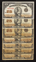Canadian Currency: , DC-24d 25¢ 1923 Seven Examples.. ... (Total: 7 notes)
