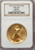 High Relief Double Eagles: , 1907 $20 High Relief, Wire Rim AU55 NGC. NGC Census: (26/1799). PCGS Population (216/3548). Mintage: 11,250. Numismedia Wsl...
