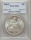 Seated Dollars: , 1860-O $1 MS61 PCGS. PCGS Population (227/290). NGC Census:(129/227). Mintage: 515,000. Numismedia Wsl. Price for problem ...