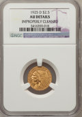 1925-D $2 1/2 --Improperly Cleaned--NGC Details. AU. NGC Census: (14/18695). PCGS Population (71/12389). Mintage: 578,00...