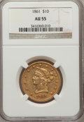 Liberty Eagles: , 1861 $10 AU55 NGC. NGC Census: (127/211). PCGS Population (38/56).Mintage: 113,100. Numismedia Wsl. Price for problem free...