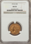Indian Half Eagles: , 1914-S $5 AU55 NGC. NGC Census: (159/938). PCGS Population(111/504). Mintage: 263,000. Numismedia Wsl. Price for problem f...