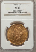 Liberty Double Eagles: , 1889-S $20 MS61 NGC. NGC Census: (651/626). PCGS Population(338/1045). Mintage: 774,700. Numismedia Wsl. Price for problem...
