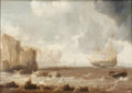 Fine Art - Painting, European:Antique  (Pre 1900), Attributed to BONAVENTURA PEETERS (Flemish, 1614-1652). A DutchBattleship and Sailing Boats in Choppy Seas near a Rocky C...