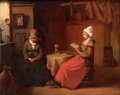 Fine Art - Painting, European:Antique  (Pre 1900), JOHANNES ANTOINE BALTHASAR STROEBEL (Dutch, 1821-1905). TheEvening Prayer, 1876. Oil on canvas. 17-1/8 x 22 inches (43....