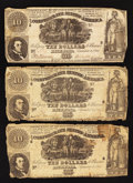 Confederate Notes:1861 Issues, T30 $10 1861 Three Examples.. ... (Total: 3 notes)