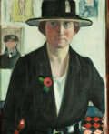 American, HELENA ADELE M. DUNLAP (American, 1876-1955). Self-Portrait.Oil on canvas. 21-1/4 x 17-1/4 inches (54.0 x 43.8 cm). Sig...