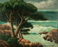 Paintings, ELSIE PALMER PAYNE (American, 1884-1971). The Coast at Carmel (California). Oil on canvas. 28 x 34 inches (71.1 x 86.4 c...