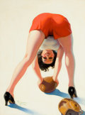 """Pin-up and Glamour Art, ENOCH BOLLES (American, 1883-1976). """"The Goal Rush is On!"""", FilmFun magazine cover, November 1934. Oil on canvas. 24 x ...(Total: 2 Items)"""