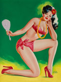 Pulp, Pulp-like, Digests, and Paperback Art, PETER DRIBEN (American, 1902-1968). Admiring Myself, Tittermagazine cover, November 1946. Acrylic on board. 32.5 x 24.5...