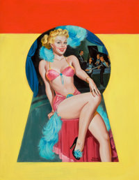 PETER DRIBEN (American, 1902-1968) Pin-Up Sitting in the Keyhole, Whisper magazine cover, September 195