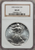 Modern Bullion Coins: , 1995 $1 Silver Eagle MS69 NGC. NGC Census: (69685/78). PCGSPopulation (3847/1). Mintage: 4,672,051. Numismedia Wsl. Price ...
