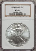 Modern Bullion Coins: , 2004 $1 Silver Eagle MS69 NGC. PCGS Population (9550/100).Numismedia Wsl. Price for problem free NGC/P...