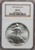 Modern Bullion Coins: , 1990 $1 Silver Eagle MS69 NGC. NGC Census: (69763/201). PCGSPopulation (2770/0). Mintage: 5,840,210. Numismedia Wsl. Price...