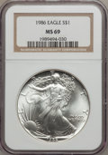 Modern Bullion Coins: , 1986 $1 Silver Eagle MS69 NGC. NGC Census: (88949/1103). PCGSPopulation (4666/3). Mintage: 5,393,005. Numismedia Wsl. Pric...