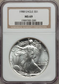 Modern Bullion Coins: , 1988 $1 Silver Eagle MS69 NGC. NGC Census: (82696/322). PCGSPopulation (4456/1). Mintage: 5,004,646. Numismedia Wsl. Price...