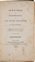 Books:Americana & American History, [Davy Crockett]. [Attributed to James S. French]. Sketches and Eccentricities of Col. David Crockett, of West Tennessee....