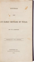 Books:Americana & American History, William B. Dewees. Letters from an Early Settler of Texas.Compiled by Cara Cardelle....