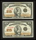 Canadian Currency: , DC-24d 25¢ 1923 Two Examples. ... (Total: 2 notes)