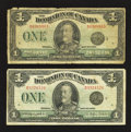 Canadian Currency: , DC-25n $1 1923 Two Examples. ... (Total: 2 notes)