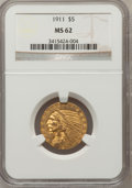 Indian Half Eagles: , 1911 $5 MS62 NGC. NGC Census: (2831/1235). PCGS Population(1762/1282). Mintage: 915,000. Numismedia Wsl. Price for problem...