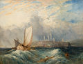 Fine Art - Painting, European:Antique  (Pre 1900), School of JOSEPH MALLORD WILLIAM TURNER (British, 1775-1851).Dutch Vessels Passing by a Man Overboard in Choppy Seas, aC...