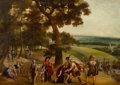 Fine Art - Painting, European:Antique  (Pre 1900), School of ANTON MIROU (Flemish, 1586-1661). The Reconciliation of Jacob and Esau in and Extensive Wooded Landscape, 17th...