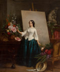 Fine Art - Painting, European:Antique  (Pre 1900), JEAN-BAPTISTE-ANTOINE-EMILE BERANGER (French, 1814-1883). WomanFlower Painter at the Easel (almost certainly a portrait o...