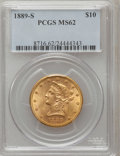 Liberty Eagles: , 1889-S $10 MS62 PCGS. PCGS Population (368/244). NGC Census:(404/108). Mintage: 425,400. Numismedia Wsl. Price for problem...
