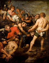 School of ANTHONY VAN DYCK (British, 1599-1641) The Road to Calvary, 17th century Oil on canvas 7