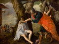 Fine Art - Painting, European:Antique  (Pre 1900), FLEMISH SCHOOL (17th Century). The Good Samaritan, 1642. Oilon canvas . 63 x 83 inches (160.0 x 210.8 cm). Indistinctly...