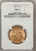 Liberty Eagles: , 1881 $10 MS63 NGC. NGC Census: (601/42). PCGS Population (257/18).Mintage: 3,877,260. Numismedia Wsl. Price for problem fr...