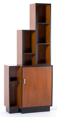AN AMERICAN MAHOGANY AND EBONIZED WOOD SKYSCRAPER BOOKCASE WITH CHROME HANDLE IN THE MANNER OF PAUL FRANKL Maker