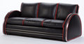 Furniture : American, A ROYALCHROME CHROME AND LEATHER SOFA ATTRIBUTED TO DONALD DESKEY .Manufactured by Royal Metal Manufacturing Company, Chica...