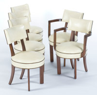 FOUR GILBERT ROHDE WALNUT AND BURL WALNUT SIDE CHAIRS AND TWO ARM CHAIRS FOR HERMAN MILLER Designed by Gilbert Ro