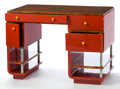 Furniture : American, A PAUL T. FRANKL LACQUER, MADAGASCAR EBONY AND BAKELITE DESK .Designed by Paul T. Frankl (American, 1886-1958). Manufacture...