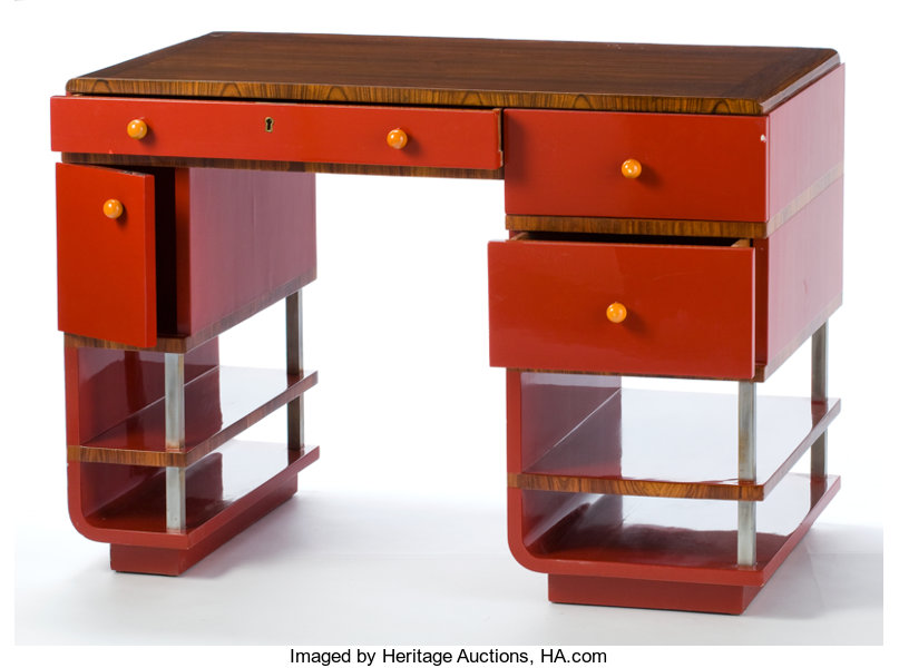 Furniture American A Paul T Frankl Lacquer Madagascar Ebony And Bakelite Desk