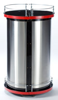 Furniture , AN AMERICAN ART DECO BRUSHED STEEL, CHROMED METAL AND LAMINATE HINGED CYLINDRICAL BAR . Maker unknown, American, circa 1930...