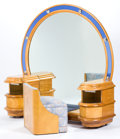 Furniture , A LIGHTED AMERICAN OCEAN-LINER STYLE BLOND BURL WALNUT AND COBALT BLUE MIRROR VANITY AND STOOL . Maker unknown, American, ci...
