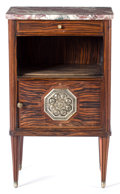 Decorative Arts, French:Other , A FRENCH ART DECO MACASSAR EBONY, MARBLE, SILVERED BRONZE ANDENAMEL END TABLE . Maker unknown, French, circa 1920. 31-1/2 x...