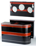 Furniture : American, AN ART DECO CHROMED METAL AND LACQUER BAR, BACK BAR AND LIGHTEDMIRROR . Maker unknown, American, circa 1935. 40 x 63 inches...(Total: 3 Items)