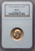Australia, Australia: George V Sovereign 1911-S MS63 NGC, ...
