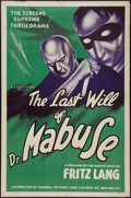 """Movie Posters:Crime, The Testament of Dr. Mabuse (Sherman S. Krellberg / Goodwill,R-1943). One Sheet (27"""" X 41""""). Crime.. ..."""